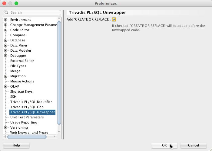 PL/SQL Unwrapper - Preferences
